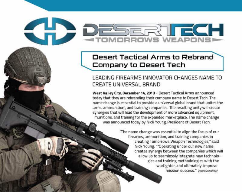 Desert Tatical Arms is rebranding to Desert Tech.