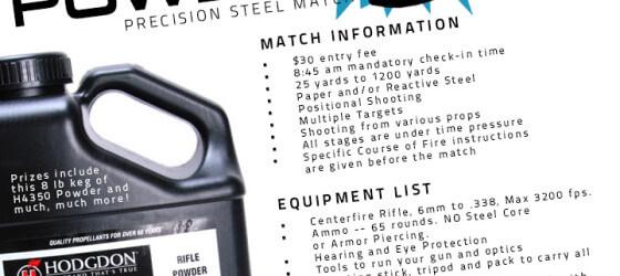 Desert Tech Precision Steel Match. Prize is Powder Keg 8lbs.