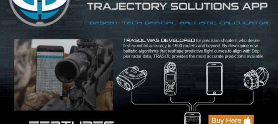 Trasol App - Trajectory Ballistic Calculator by Desert Tech